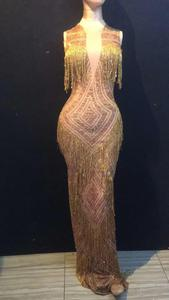 Золотое Платье с бахромой, стразы, одежда для сцены, эластичные сексуальные платья без рукавов с кисточками, певица, вечернее длинное платье...