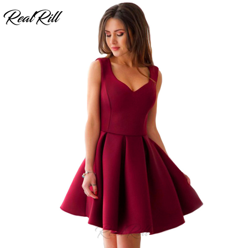 Real Rill V Neck Short Homecoming Dress Satin Tank Pleated Mini Party Ruffled Skirt A Line Formal
