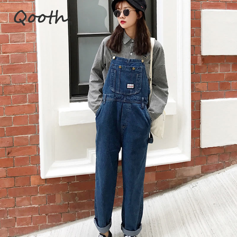 Qooth Vintage High Waist Jeans Overalls Women Big Pockets Denim Romper Ladies Wide Leg Harem Jumpsuits Capri Jeans QH2280