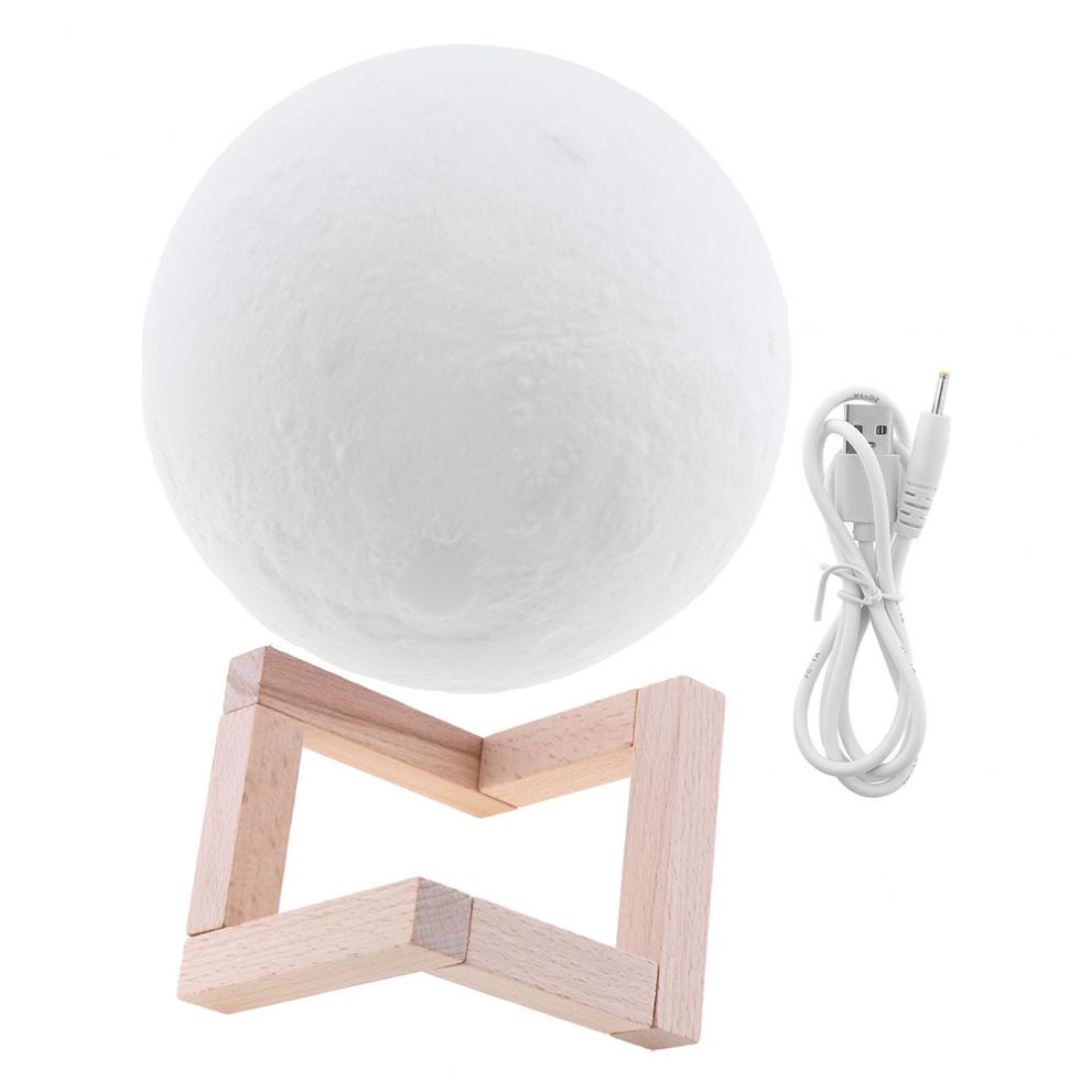 18CM Rechargeable 3D Print Moon Lamp with 2 Color Change Touch Switch to Adjust Brightness for Creative Gift / Home Decor