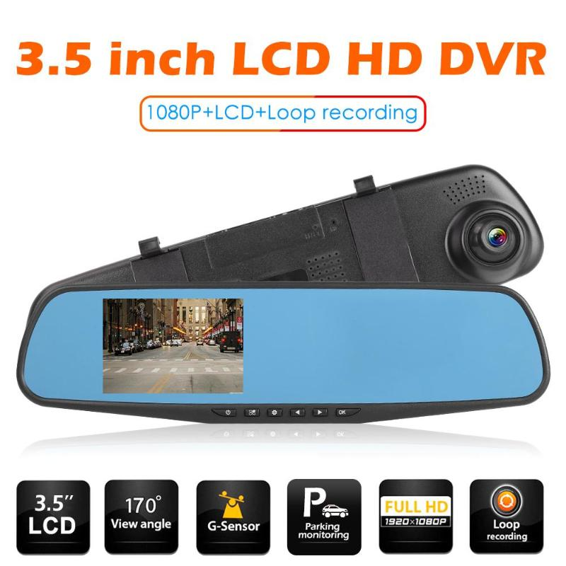 3.5 inch LCD Display 1080P HD <font><b>Car</b></font> In-Dash <font><b>DVR</b></font> Video Media Recorder Rear View <font><b>Mirror</b></font> 100 Degree Camera with/without TF Card image
