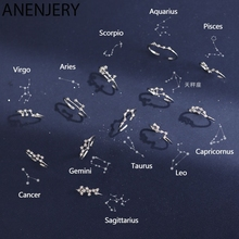 ANENJERY 12 Constellation Rings For Women Cubic Zircon Adjustable Zodiac Rings Silver Color Jewelry Gifts S-R769