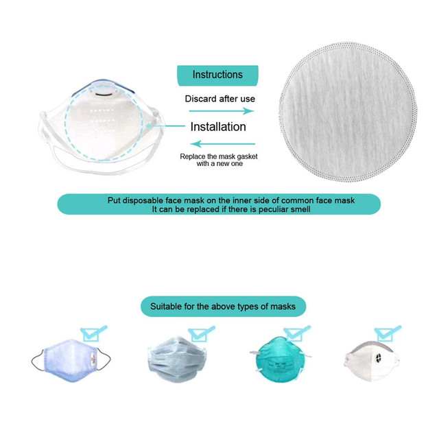 50/100 PCS Mask Gasket Face Mask Filter Pad Activated Carbon Breathing Filters