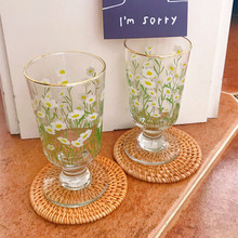 Corea Ins pintada a mano de estilo Tulip flor taza de cristal para café leche de jugo de postre Copa resistente al calor Copa vientre taza de Mousse