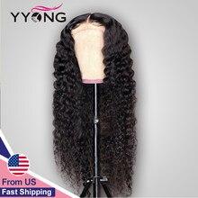Perruque Lace Closure Wig 100% naturelle brésilienne – YYong, Deep Wave, 6x1, perruque Lace Wig, partie transparente, pre-plucked, naissance des cheveux