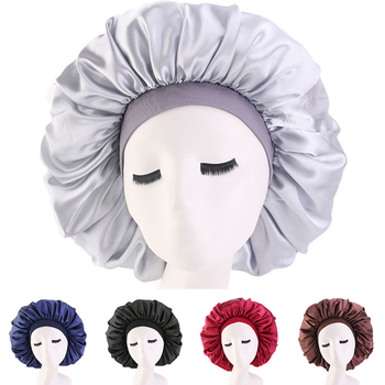 Extra Large Satin Silky Bonnet Sleep Cap with Premium Elastic Band For Women Solid Color Head Wrap Brimmed Nightcap Night Hat 1X 1