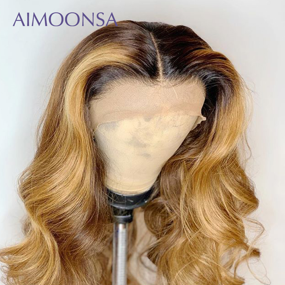 Colored Human Hair Wigs Ombre Lace Front Wig Human Hair Wigs Pre Plucked Baby Hair Wavy Wig13X6 Deep Part Remy Aimoonsa