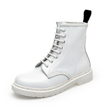 White/Silver Leather Boots Women Boots Punk Shoes Woman Spring/Winter Ankle Comfortable Casual Man Boot Women Men Boot Shoes
