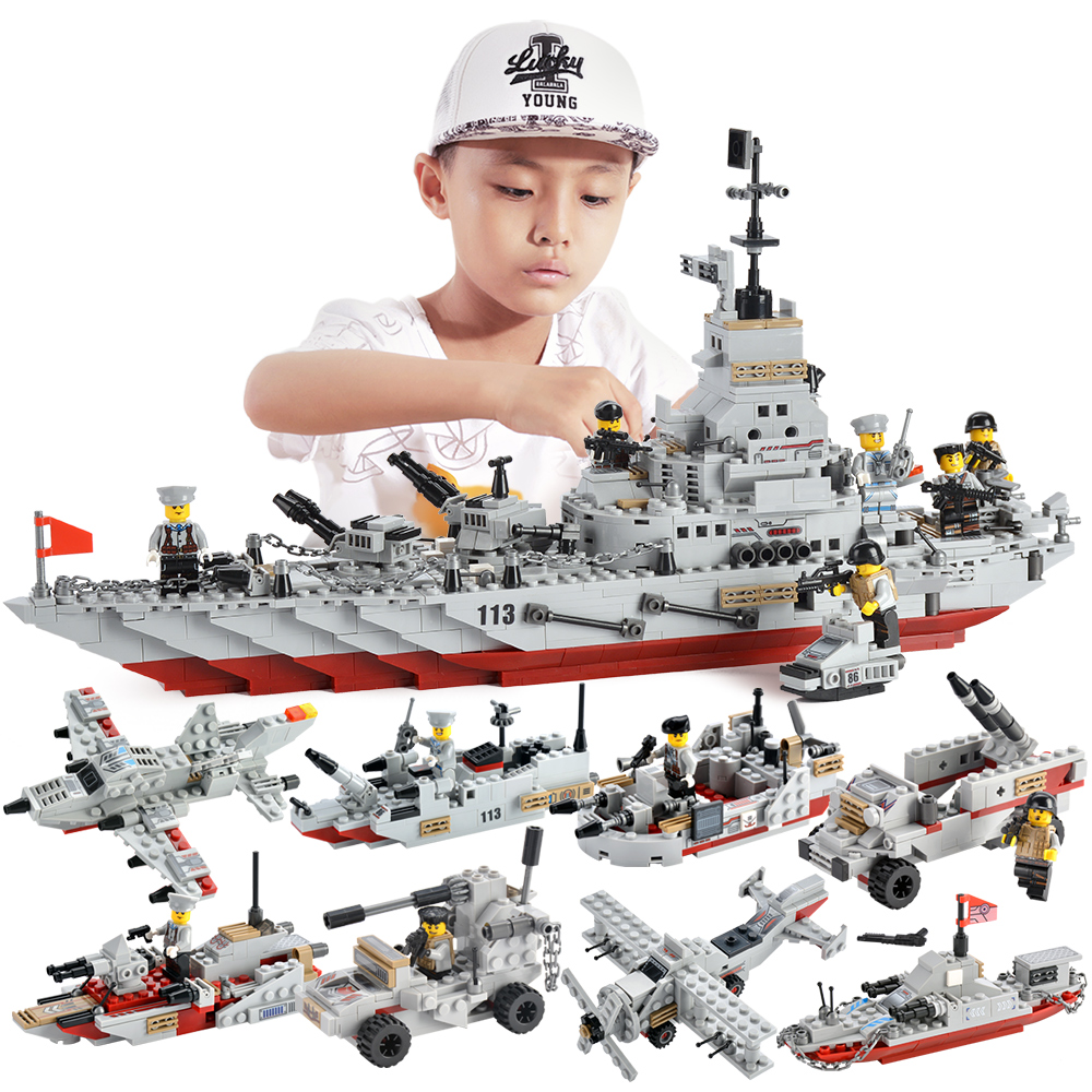 1000+ PCS Military Warship Navy Tank Aircraft Army Figures Building Blocks LegoED Army Warship Construction Bricks Children Toys