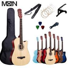 38 дюймов гитара Акустическая гитара для начинающих Музыкальные инструменты профессиональный бесплатно 6 Pec подарки струны Капо посылка 17 цветов на выбор