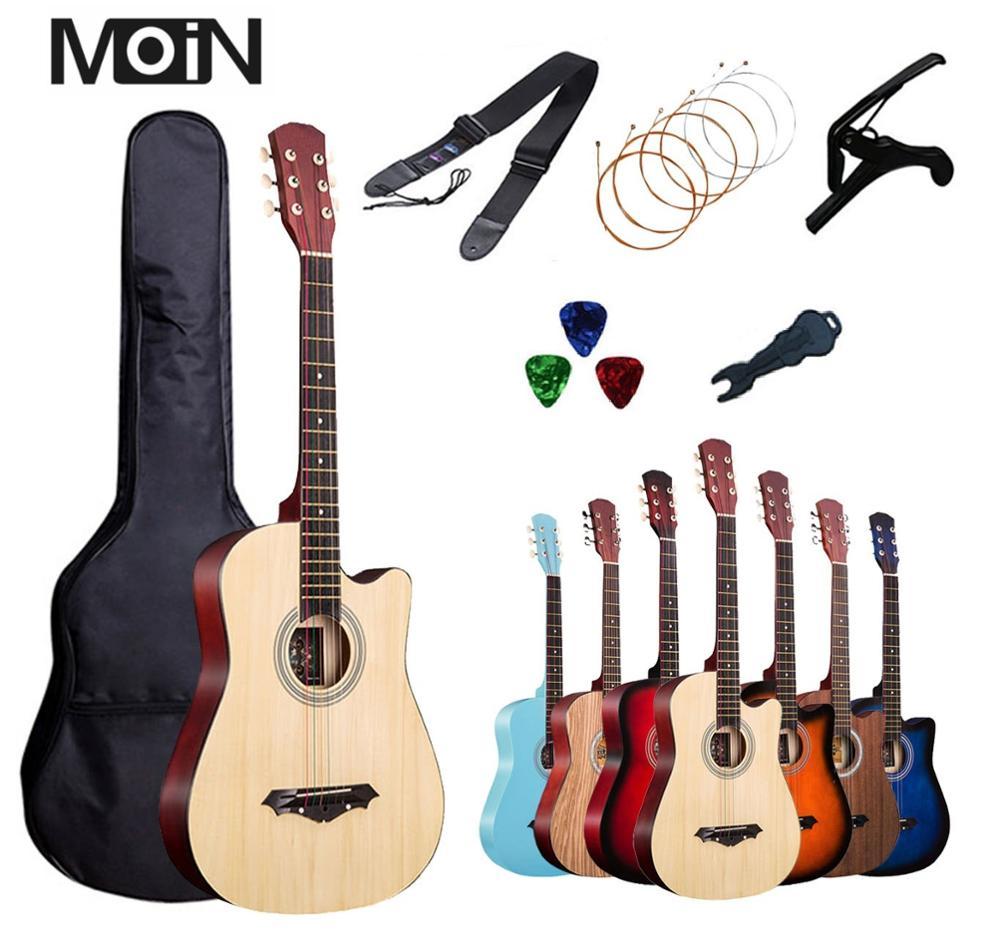 38 Polegada guitarra acústica iniciante instrumentos musicais professional livre 6 pec presentes cordas capo pacote 17 cor opcional