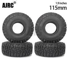 4PCS 115MM Rubber Mud Grappler Tires for 1:10 RC Crawler Axial SCX10 SCX10 II JEEP 90046 90047 TRX-4 Defender G500 TRX-6 G63
