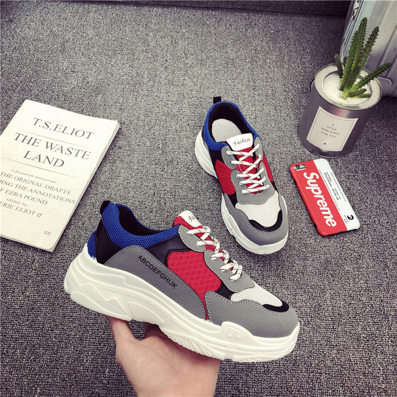 2019 Autumn New Fashion Girls Shoes Girl Sneakers All-match Spell Color Height-increasing Soild Breathable Princess