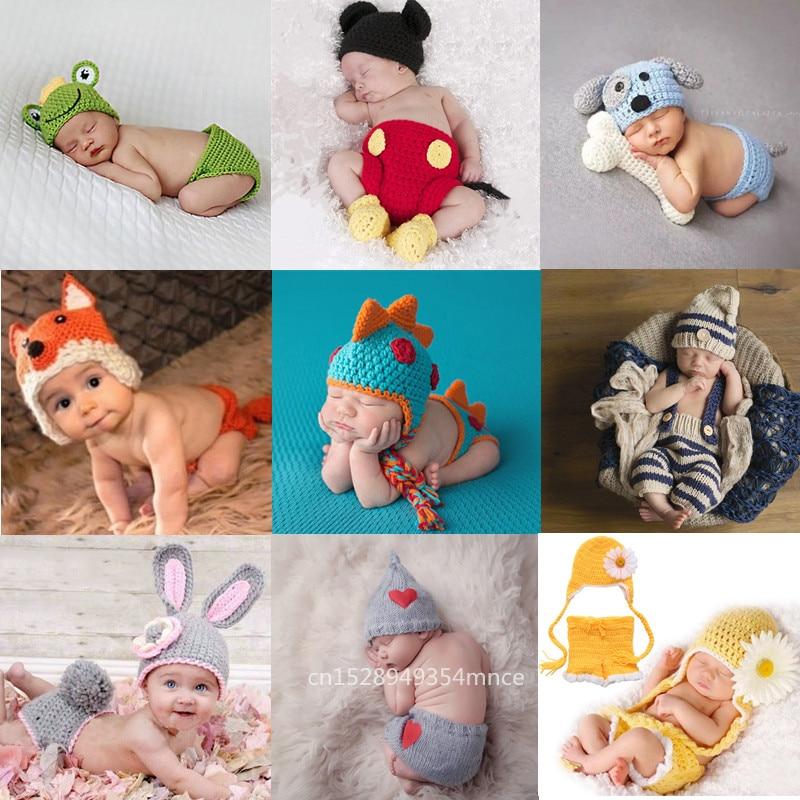 Neugeborenen fotografie requisiten crothet baby kleidung jungen kleidung jungen zubehör infant mädchen kostüm gehäkelte handgemachte outfit