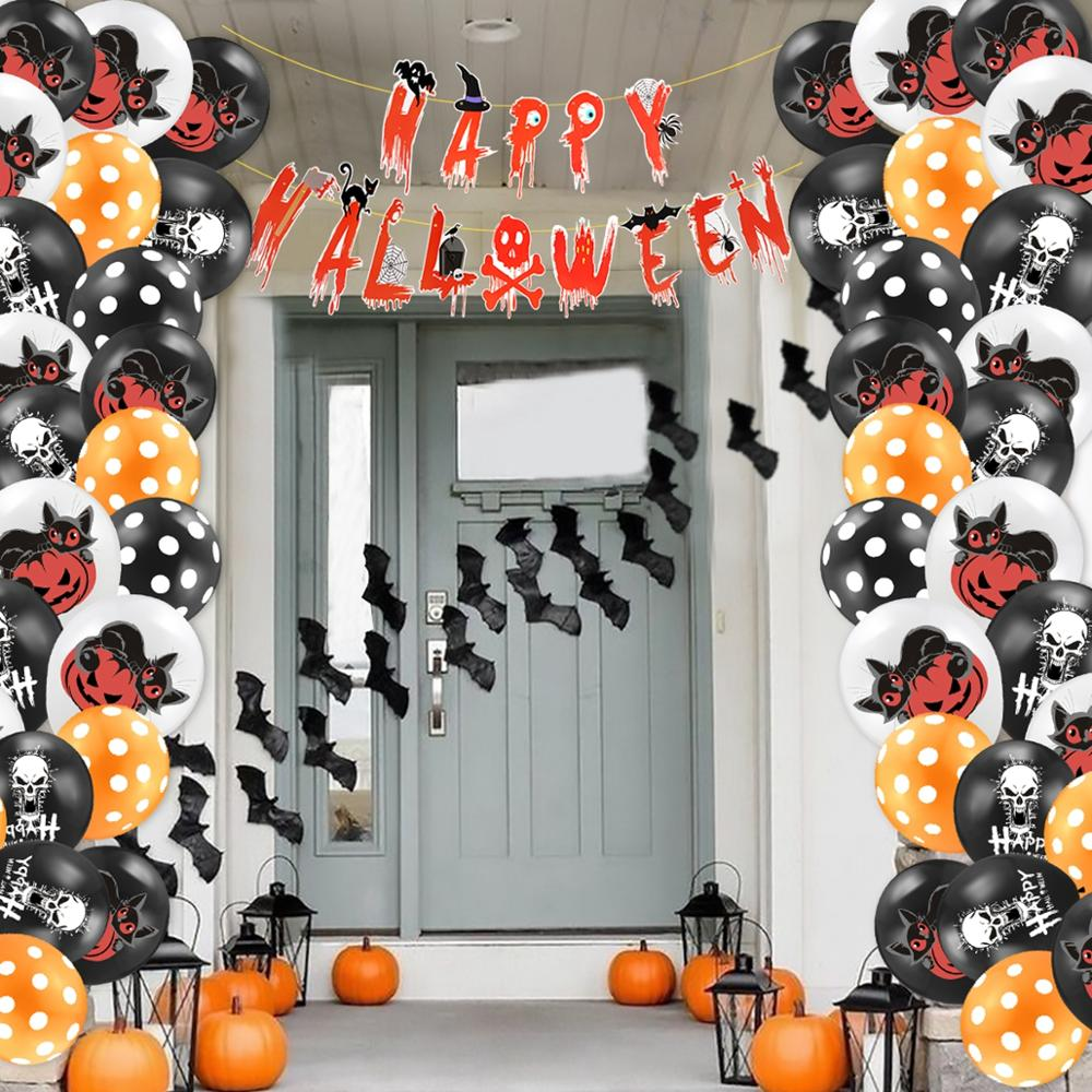 Huiran Happy Halloween Banner Kit Helloween Pumpkin Cat Balloons Set Decorations For Home Haloween Party Decor
