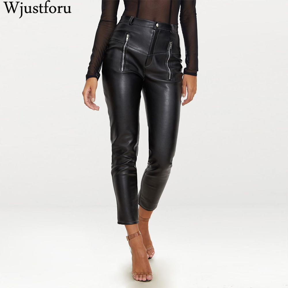 Wjustforu Skinny Zip Leather Pants For Women PU Tight Black Elegant Pencil Pants Female Casual Straight Pants Ladies Vestidos
