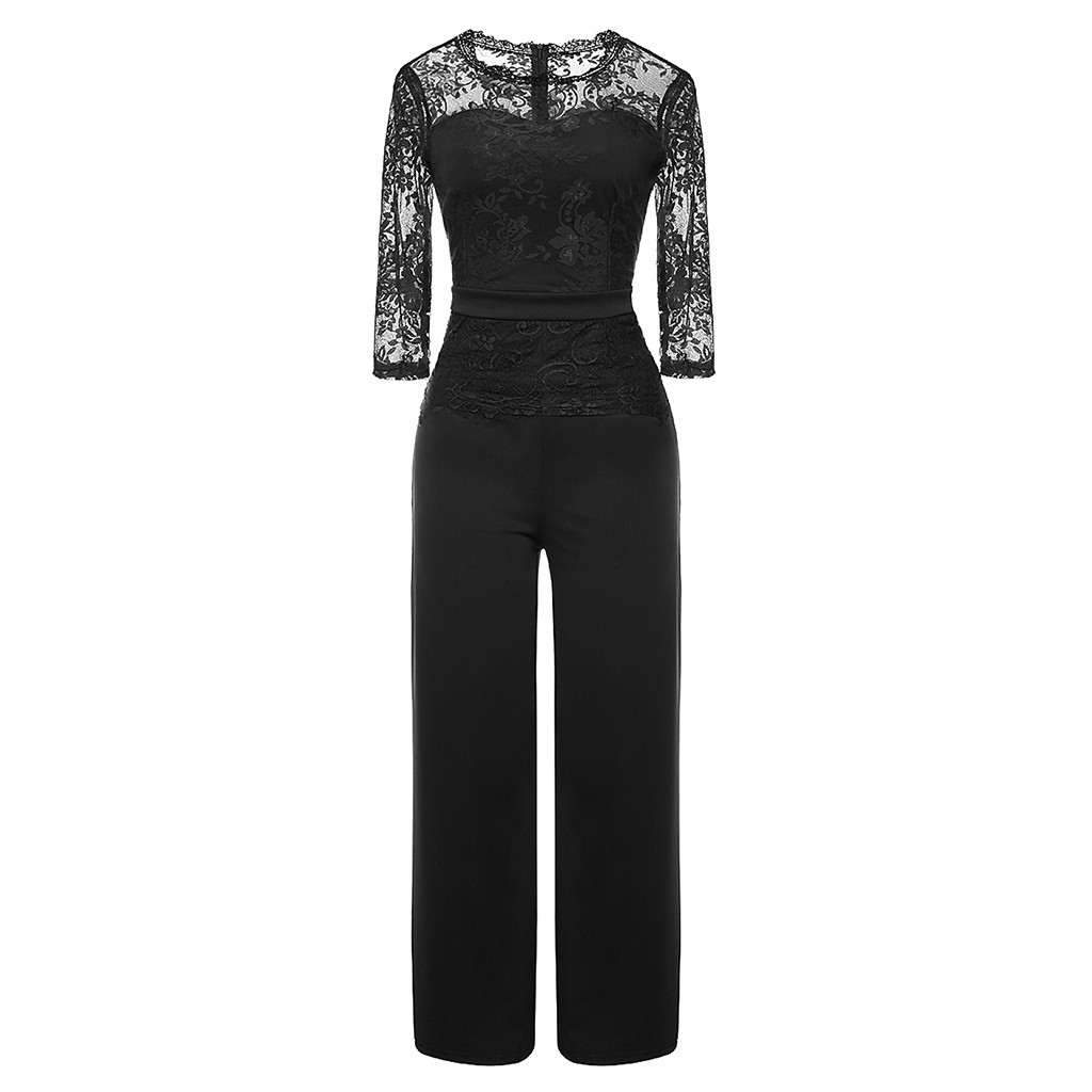 Elegant Women Slim   Jumpsuits   Lace Patchwork Long Pant Rompers Office Lady Evening Party One Piece Casual Sexy Overalls   Jumpsuit