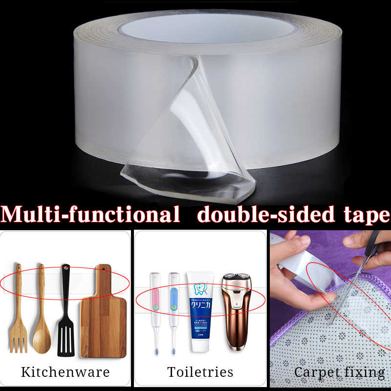 1/3/5m Nano Tape  Magic  Multifunction Double Sided Tape  Transparent Adhesive Tape Washable Removable Tapes Acrylic Foam Tape