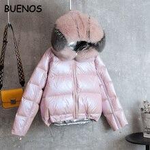 BUENOS aşağı ceket kadın kısa kalın sıcak yeni gerçek tilki kürk yaka ceket iki taraf moda parlak gümüş pembe kış ceket