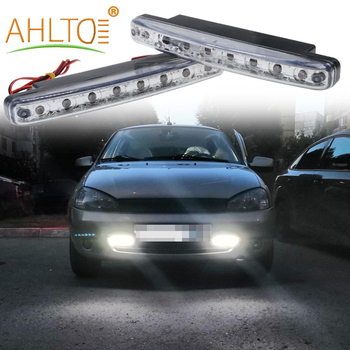 yccpauto car front fog lights drl daytime running light h7 led bulbs high power cob 2000lm white yellow amber auto h 7 lamp 2pcs 2X Car Leds Daytime Driving Running Light 8 LED DRL Fog Lights Waterproof White Lamp Auto Durable DC 12V Head Lamp Parking Bulbs