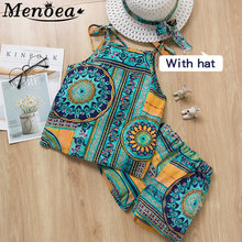 Children Summer Clothes Sets 2019 New Style Girls Sleeveless Sling Floral Chiffon Clothes Suits And Straw Hat 3pcs Baby Clothes(China)