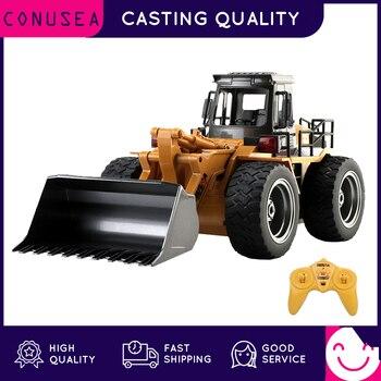 Huina 1/18 rc caminhão bulldozer caterpillar liga trator modelo de engenharia carros escavadeira 2.4g rádio carro controlado brinquedo para meninos