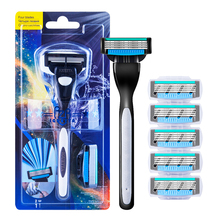 RZRIGUETTA Shaving Razor Blade For Men Set 1 Holder & 2 Blades 4 Layers Stainless Steel Manual Shave Razors Navalha De Barbear zy 7pcs set straight razor set wood shaving razor badger shaving brush leather strop bowl stand soap for man shave