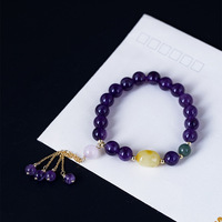 Amethyst Natural Stone Beads Bracelets For Women With Tassel Beeswax Charm Healing Balance Bracelet Pulseras Mujer
