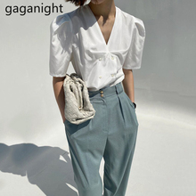 Gaganight Elegant Women Two Pieces Set Solid Blouse High Waist Straight Long Trousers Vintage Lady Suit Korean 2 Pieces Set Chic cheap Polyester REGULAR Ages 18-35 Years Old V-Neck Button Short Puff Sleeve Office Lady Broadcloth