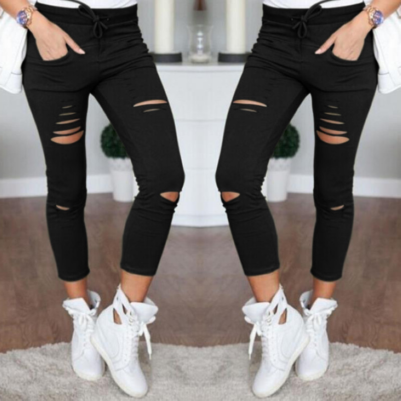 Casual Skinny Jeans Women Stretch Hole Slim Fit Denim Leggings Pencil Pants High Waist Trousers Army Green White Black XXL