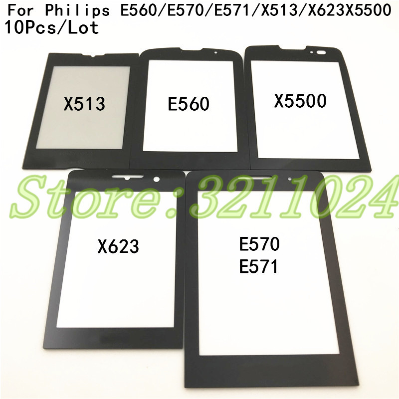 10Pcs 100% New Original Black Front Glass Lens For <font><b>Philips</b></font> Xenium <font><b>Philips</b></font> <font><b>E560</b></font> E570 E571 X513 X623 X5500 Not Touch Screen+Logo image