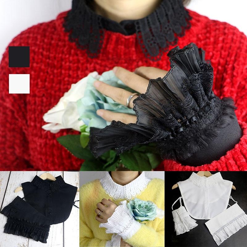 Sweet Fake White Black Chiffon Collar Fake Cuffs Department Soft Decoration Collar Tie For Ladies