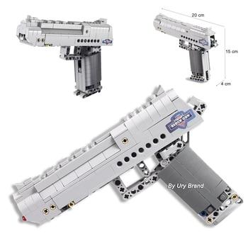 Fit Technic Series Gun Handgun Pistol Can Fire Bullets Set Desert Eagle & M23 DIY Model Building Blocks Toys For Kids Boys Gifts