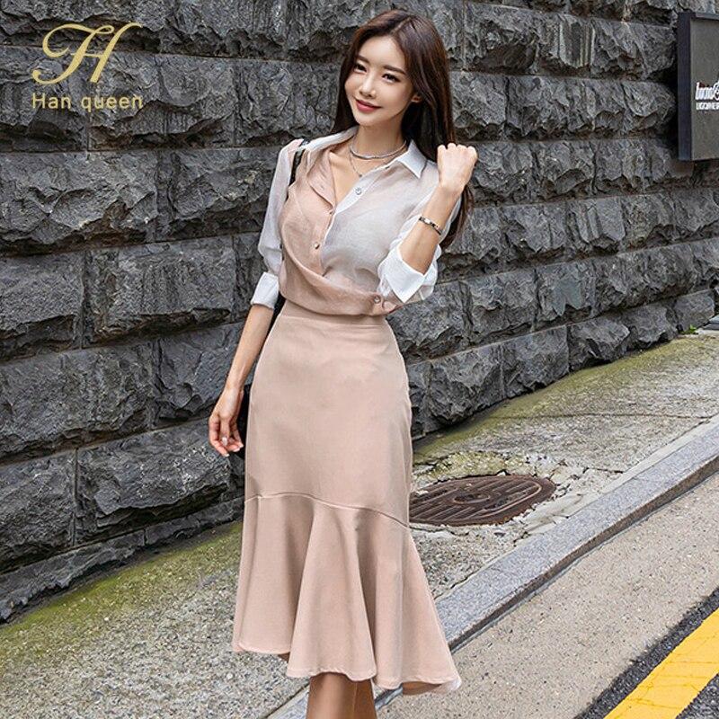 H Han Queen Women's Autumn OL 2 Pieces Suits High-waist Stitching Fashion Office Sheath Bodycon Pencil Skirt Work Set
