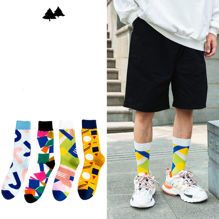 Cotton Socks Man 2019 Autumn New Personality Men's Socks Cotton Creative Geometric Men Fashion Anti-friction Motion Happy Socks