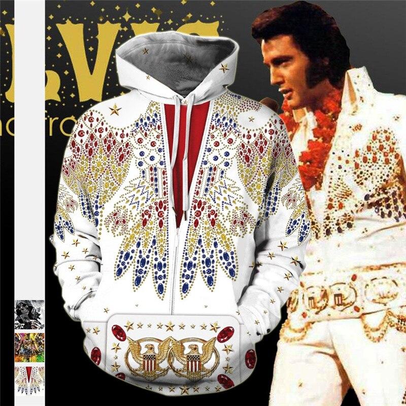 Elvis Digital Print Hooded Hoodie Fashion Loose Couples Tide Printing Hoodie Man Fleece Warm Spring Tracksuit Casual Sportswear