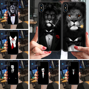 Cool Man Suit Shirt Tie Phone Case Cover Hull For iphone 5 5s se 2 6 6s 7 8 12 mini plus X XS XR 11 PRO MAX black art bumper image