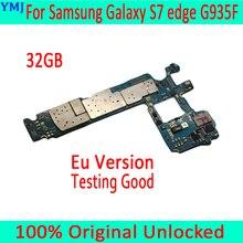 Para samsung galaxy s7 edge g935f placa mãe com sistema android, original desbloqueado para samsung s7 g935f mainboard, frete grátis