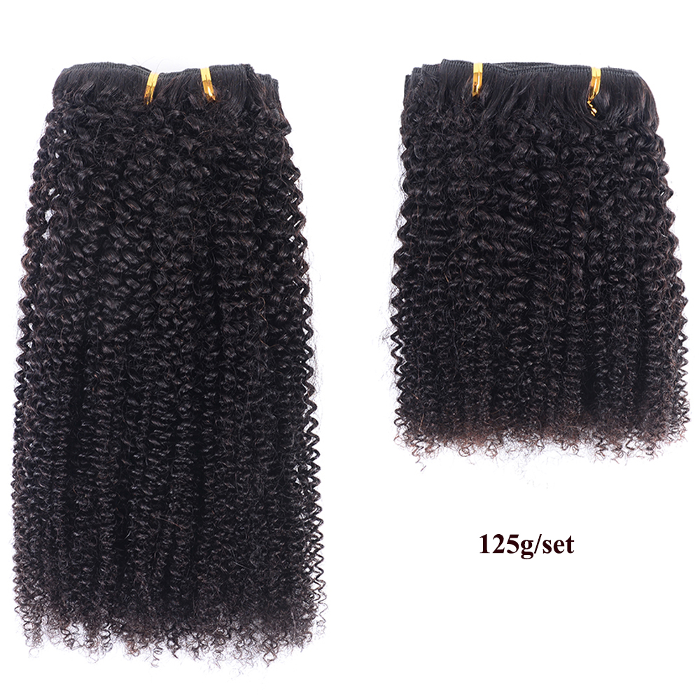 Re4U Afro kinky Curly hair Clip in Human Hair Extensions Remy 8 pcs 125G Anti-Slipping Invisible clip ins