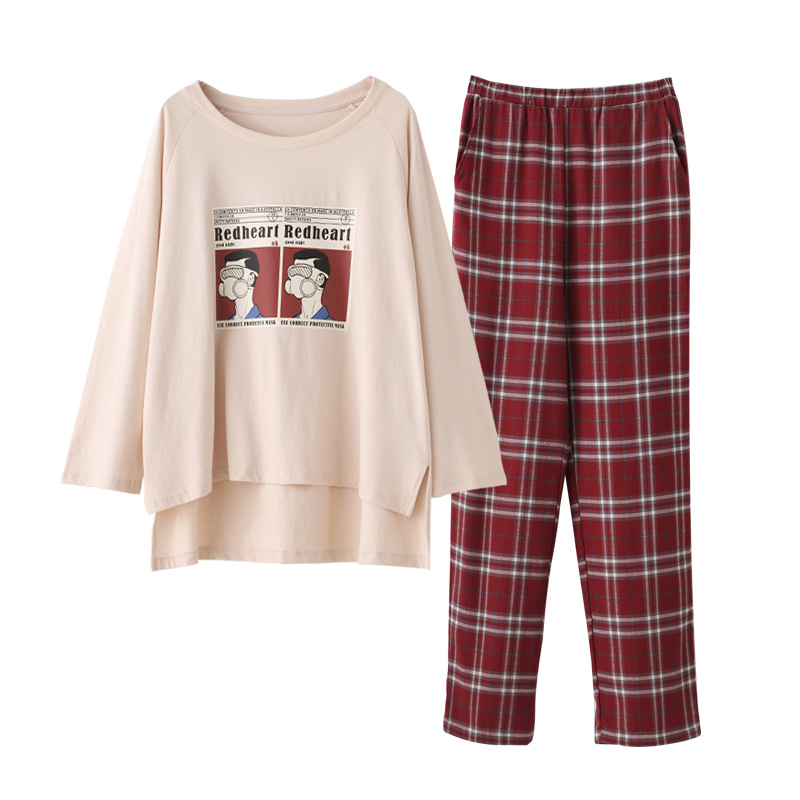 Women Home Wear Long Sleeve Spring Checked Pajamas Sets  Wine Red Plaid Cotton Sleepwear Girls Indoor Clothing Female Housewear
