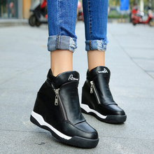 Autumn and winter single shoes women's increased casual double zipper wedges