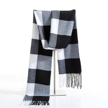 Luxury Brand Winter Men Cashmere Scarf Black White Plaid Scarves Pashmina Shawl Casual Blanket Tassel Wraps Man Business Foulard woman winter wool scarf blanket plaid oversize wraps with tassel ladies soft warm pashmina foulard femme big blanket scarves
