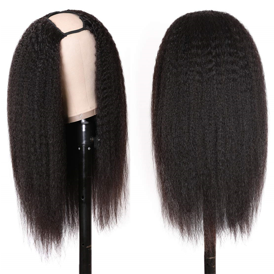 """U Part Wig Kinky Straight Human Hair Wigs 2""""x4"""" Brazilian Remy Hair Wig Middle part 150% Density Glueless Quick Easy install Wig"""