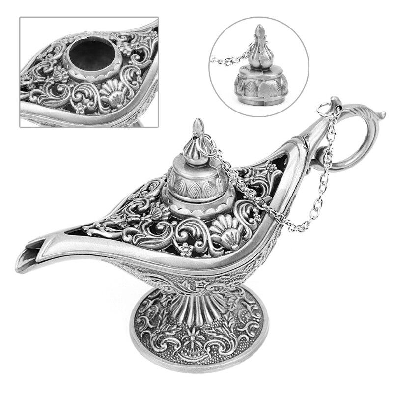 Arabian Light Hollow Carved Zinc Alloy Metal Vintage Aladdin Genie Oil Lamp Pot