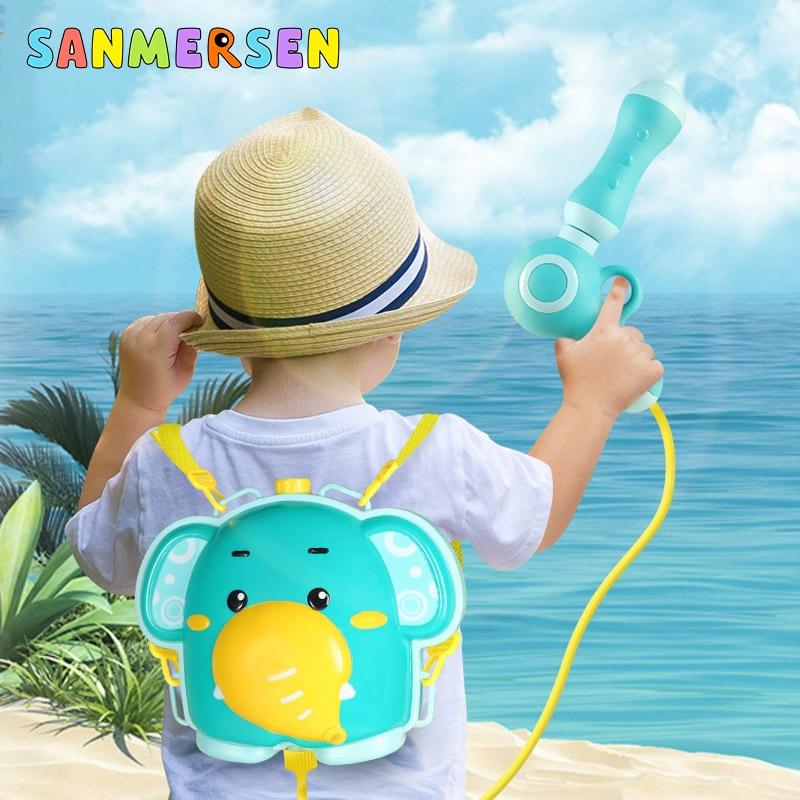 Summer Water Gun Toy Boys Girls Pink Pressure Backpack Water Guns Baby Playing Water Sprayer Outdoor Beach Toys For Kids