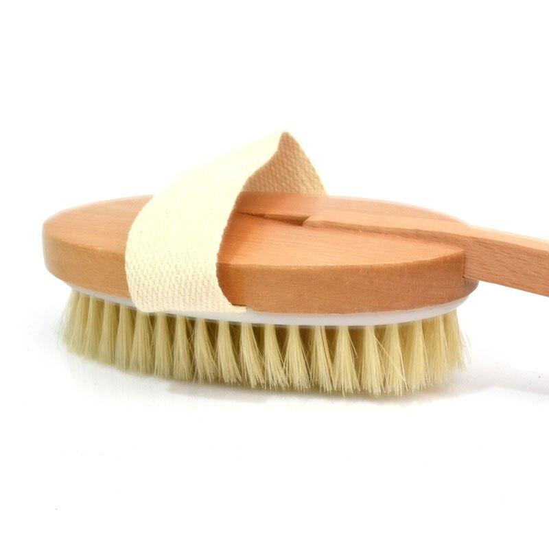 High Natural Long Wooden Bristle Body Brush Massager Bath Shower Back Spa Detachable Scrubber KTC 66