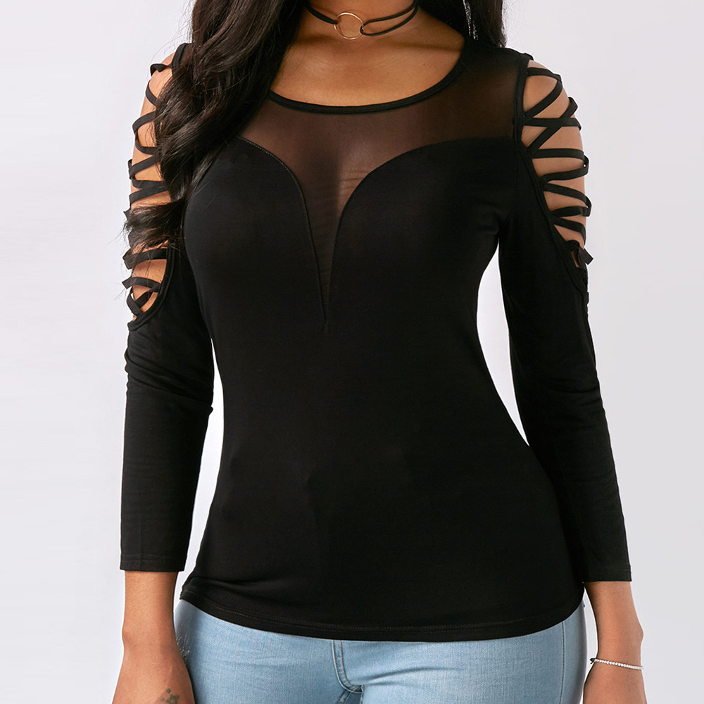 Plus Size Womens Tops And Blouses Tunic Mesh Blouse Women Clothes 2019 Gothic Lace Up Ladies Top Long Sleeve Blouse Haut Femme