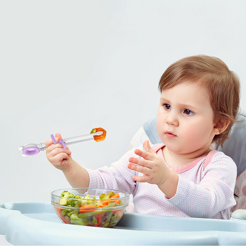 Qshare Baby Training Chopstick Food -Grade Plastic Baby Reusable Helper Training Chopstick Cartoon Children Learning Chopstick