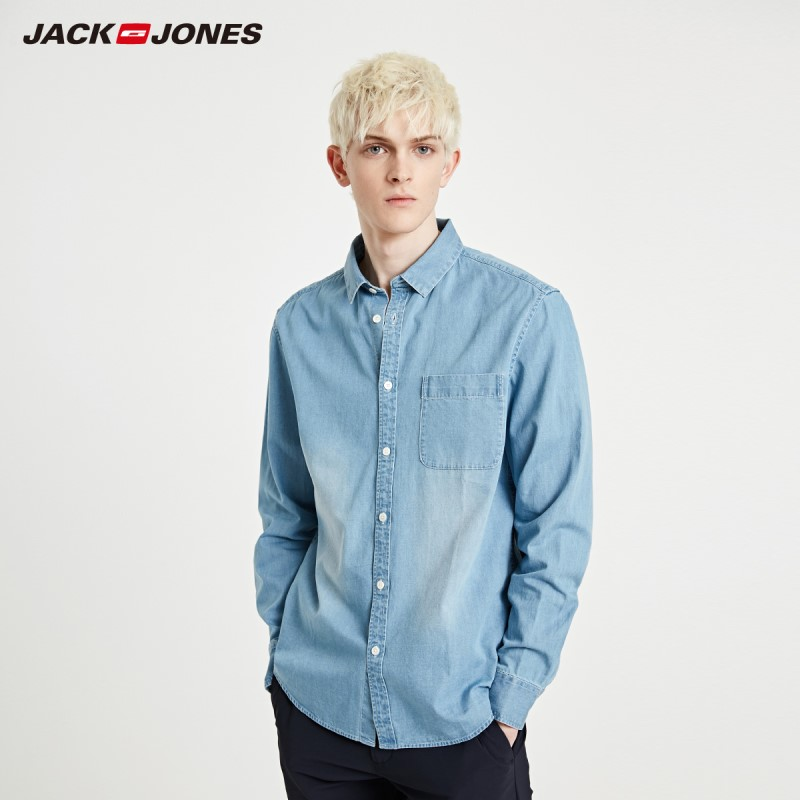 JackJones Men's Basic Loose Fit Casual 100% Cotton Denim Shirt Menswear| 219105559