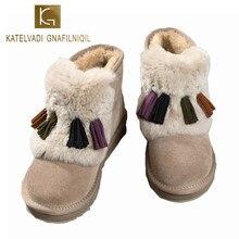 KATELVADI High Quality Snow Boots Women Fashion Genuine Leather Australia Womens Boot Winter Shoes SIZE 5-10 K-510